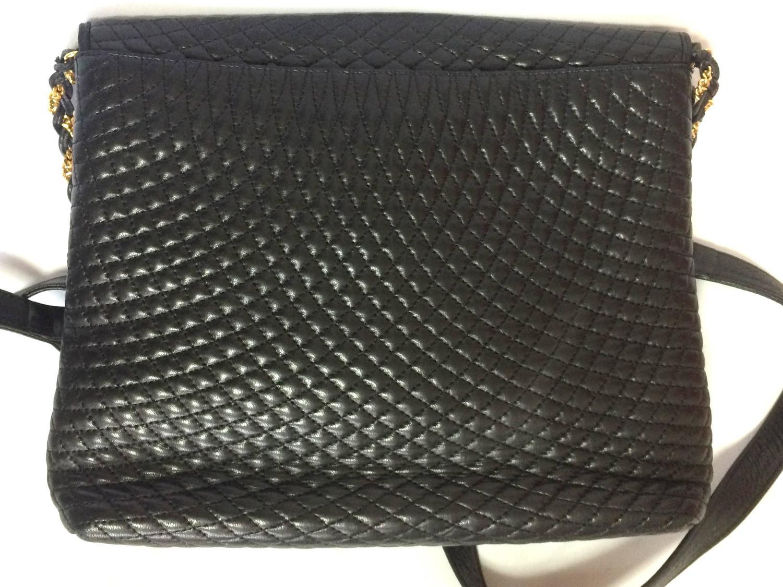 Vintage Bally Classic Black Quilted Leather Shoulder Bag