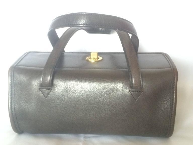 80's Vintage COACH dark brown leather shoulder bag, handbag in unique drum shape 2
