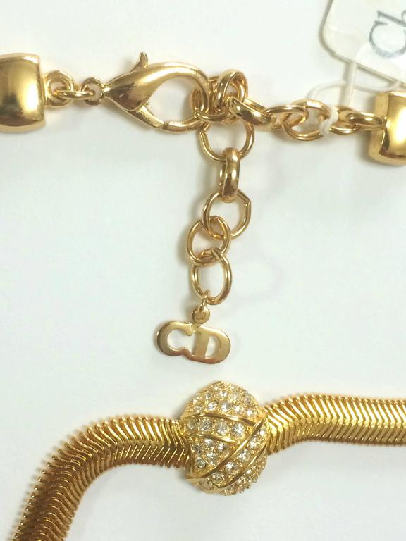 MINT. NEW.Vintage Christian Dior golden flat snake chain necklace with crystals For Sale 1