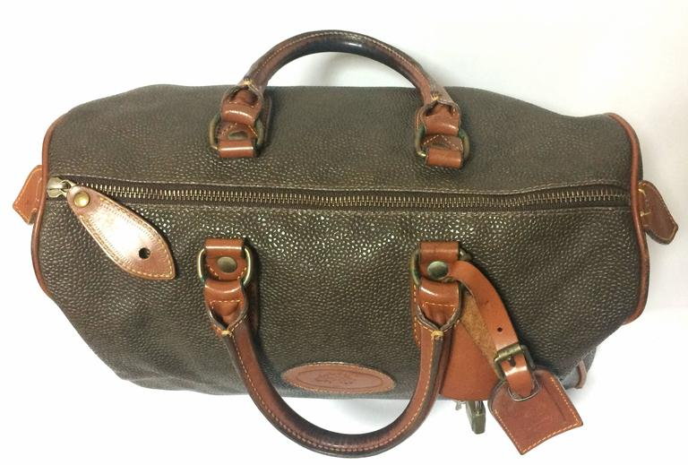 ... black ce0c4 c326e free shipping vintage mulberry khaki green  scotchgrain duffle bag with brown leather trimmings in good condition ... 8d7a6c63c3492