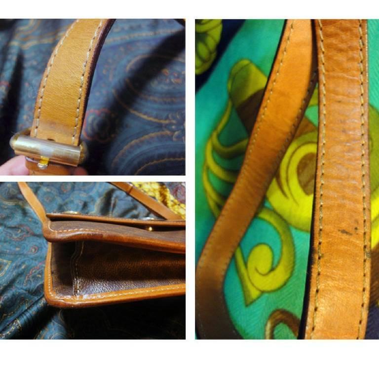 Women's Vintage Celine iconic macadam blaison pattern shoulder bag with golden motifs. For Sale