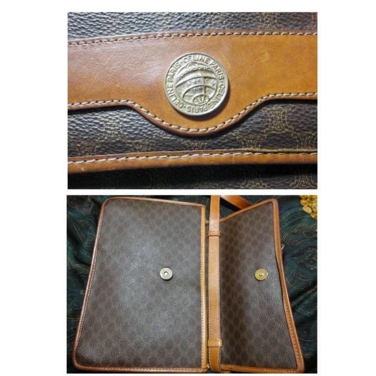 Black Vintage Celine iconic macadam blaison pattern shoulder bag with golden motifs. For Sale