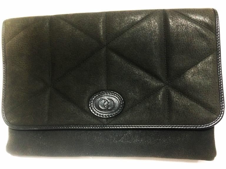 Gucci Vintage Gucci Gray Suede Leather Document Clutch Purse In Geometric Stitch SXlYAir