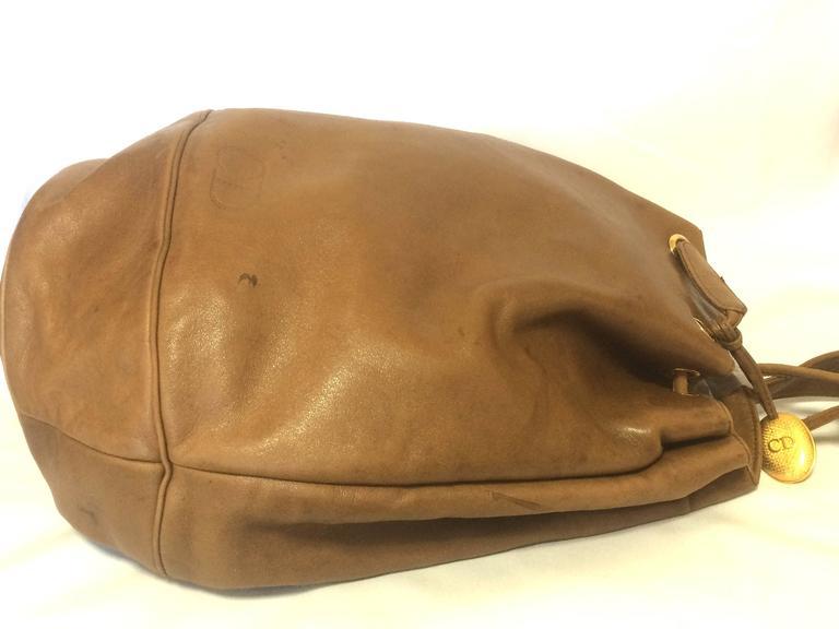 Dior Vintage Christian Dior Brown Nappa Leather Backpack Design, Large Hobo Bag