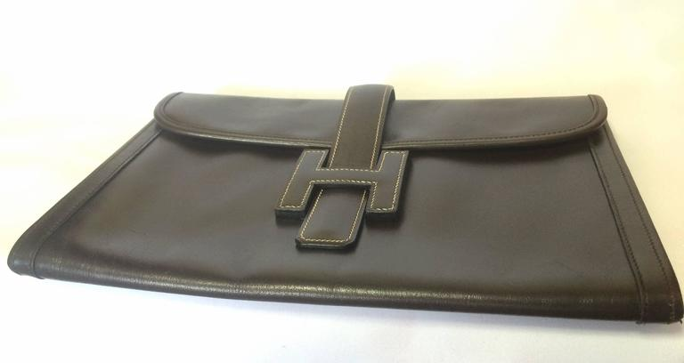 vintage HERMES jige PM, document case, dark brown portfolio purse in box calf 3