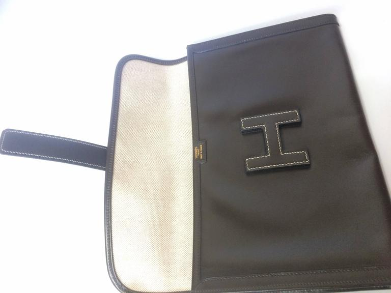 vintage HERMES jige PM, document case, dark brown portfolio purse in box calf 9