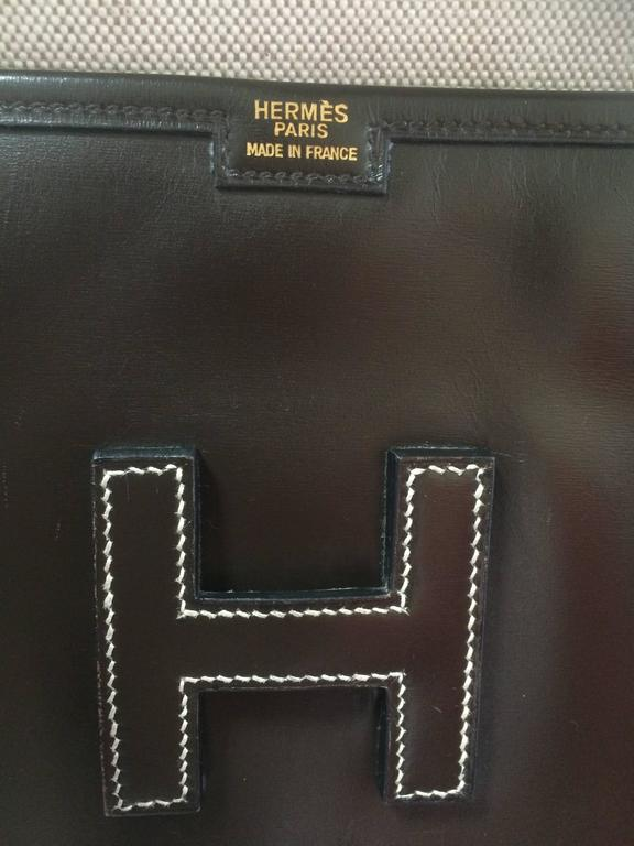 vintage HERMES jige PM, document case, dark brown portfolio purse in box calf 6