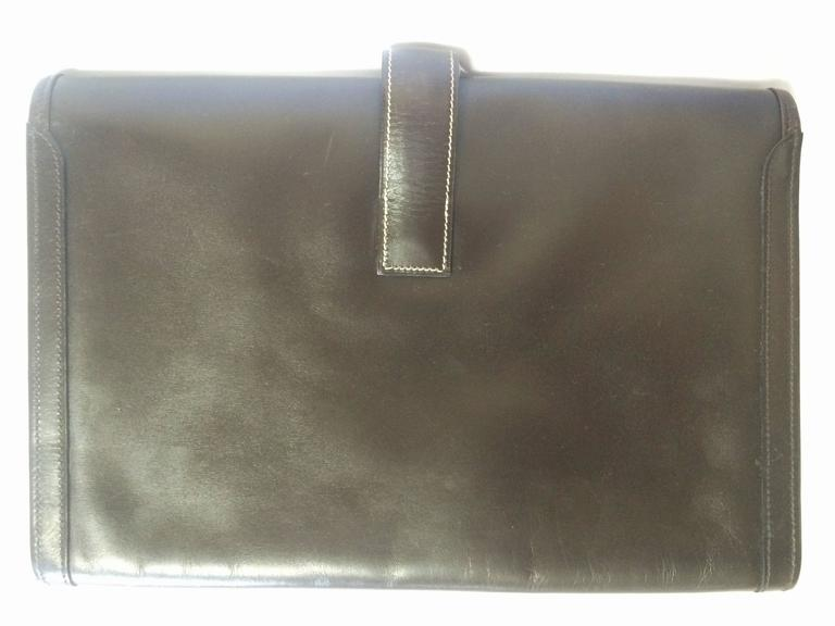 vintage HERMES jige PM, document case, dark brown portfolio purse in box calf 7