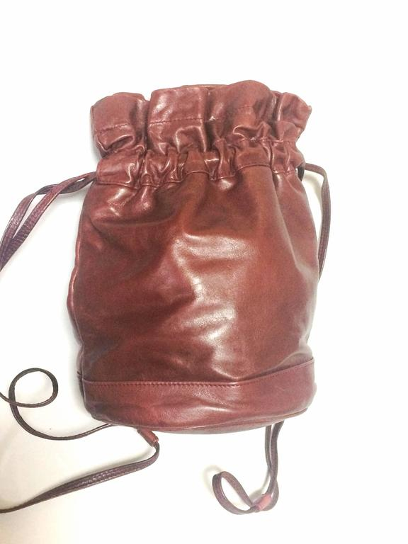 Vintage Celine wine brown nappa leather hobo bucket shoulder bag with blason 3