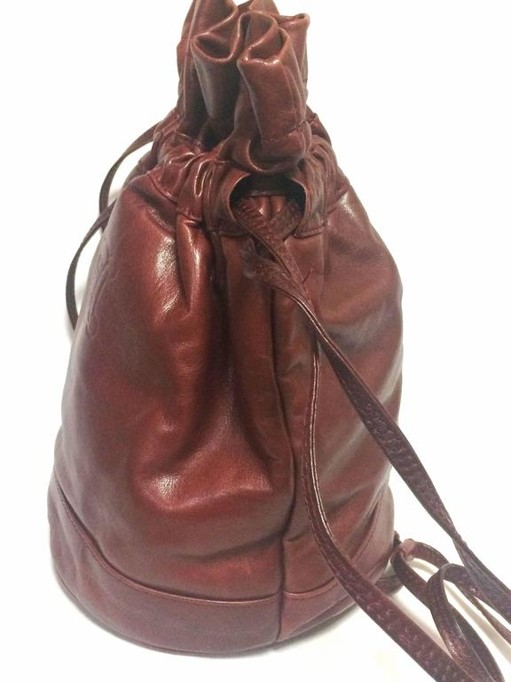 Vintage Celine wine brown nappa leather hobo bucket shoulder bag with blason 4