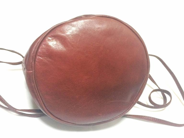 Vintage Celine wine brown nappa leather hobo bucket shoulder bag with blason 7