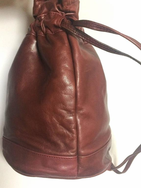 Vintage Celine wine brown nappa leather hobo bucket shoulder bag with blason 5