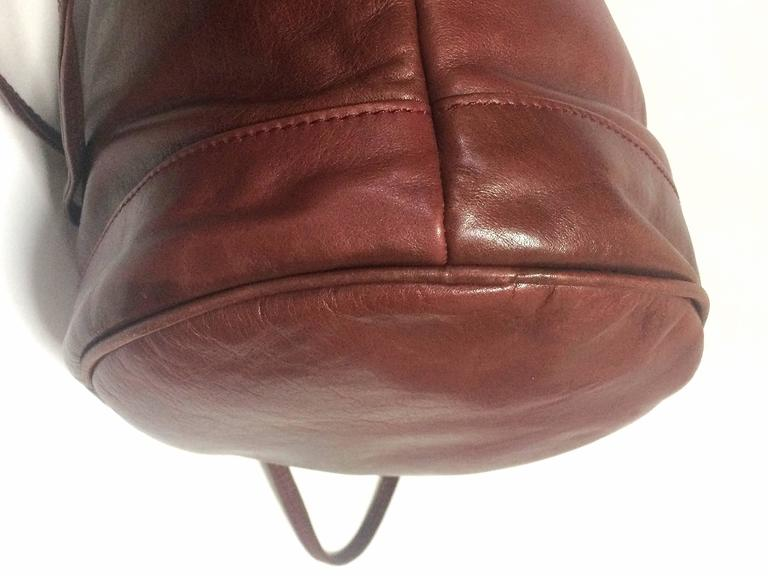 Vintage Celine wine brown nappa leather hobo bucket shoulder bag with blason 6