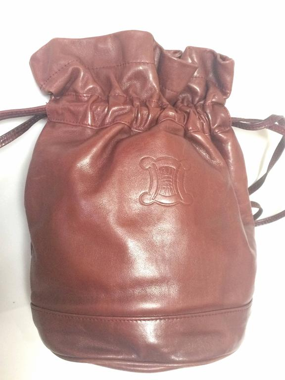 Vintage Celine wine brown nappa leather hobo bucket shoulder bag with blason 2