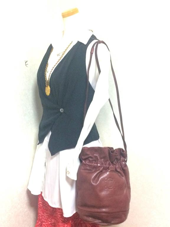 Vintage Celine wine brown nappa leather hobo bucket shoulder bag with blason 10