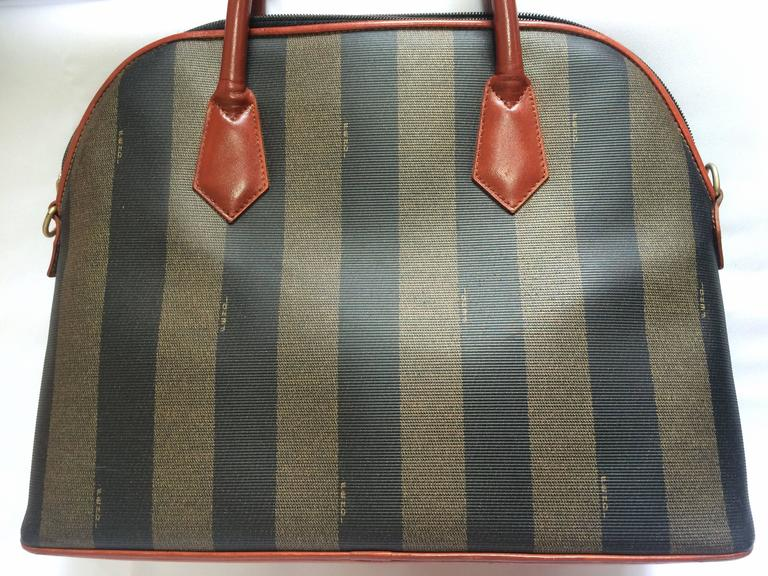 Black Vintage FENDI pecan khaki and grey stripe bolide tote bag with leather handles. For Sale