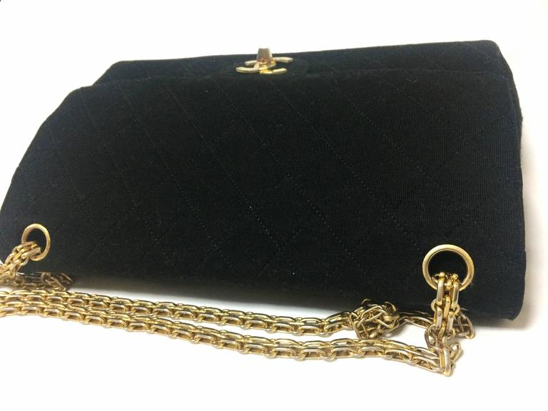 Vintage Chanel classic black jersey 2.55 bag with double flap and skinny chains 5