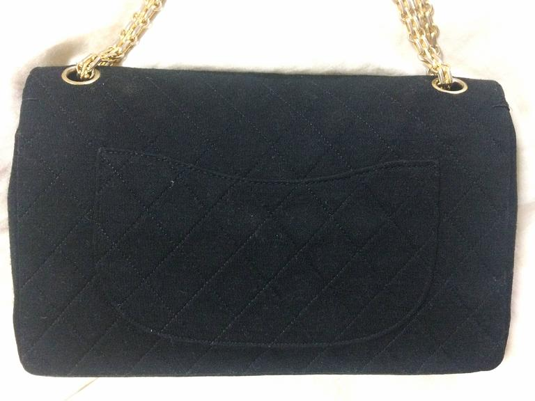 Vintage Chanel classic black jersey 2.55 bag with double flap and skinny chains 3