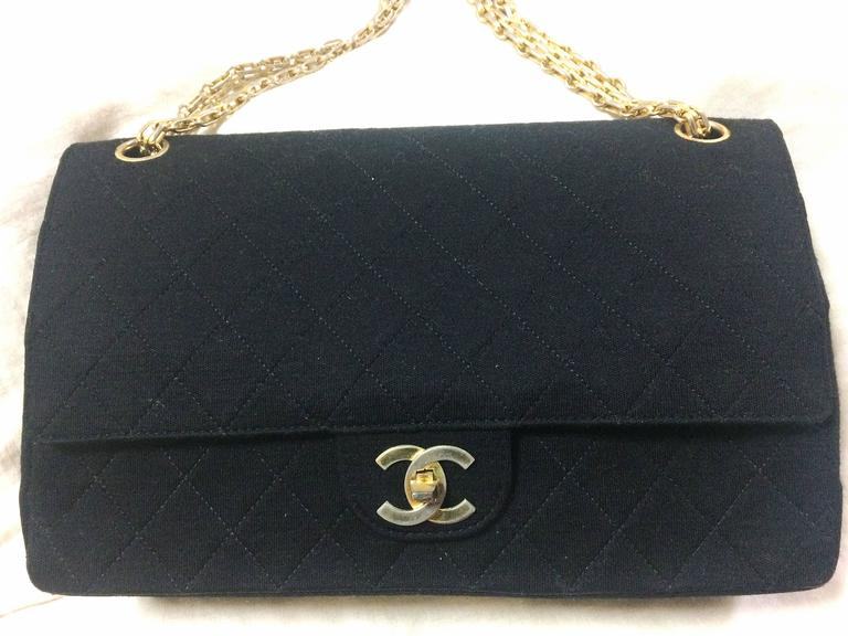 Vintage Chanel classic black jersey 2.55 bag with double flap and skinny chains 2