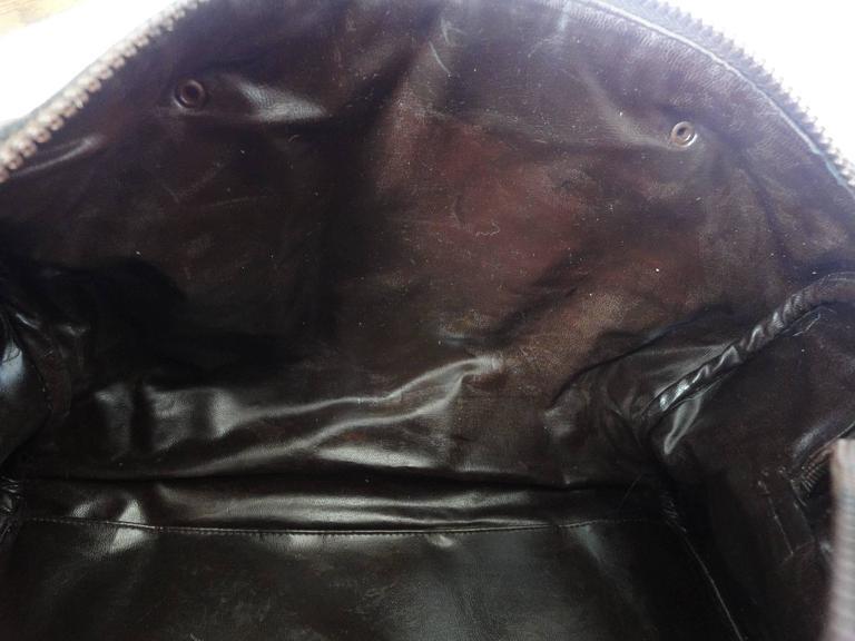 Vintage Celine genuine dark brown suede leather mini duffle, speedy type handbag For Sale 4