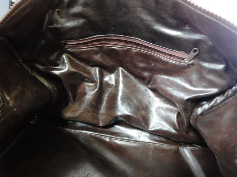 Vintage Celine genuine dark brown suede leather mini duffle, speedy type handbag For Sale 5