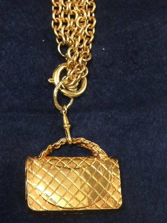 Vintage CHANEL golden double chain long necklace with classic 2.55 bag charm. For Sale 1