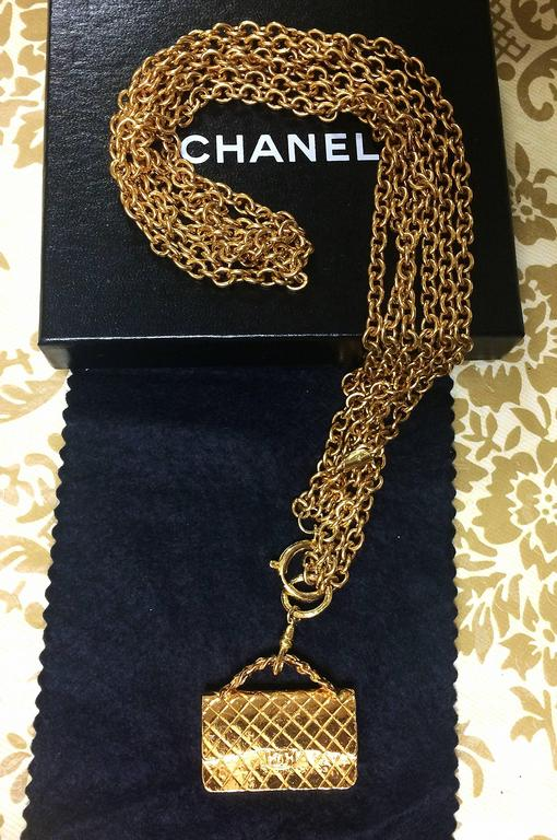 Vintage CHANEL golden double chain long necklace with classic 2.55 bag charm. For Sale 6
