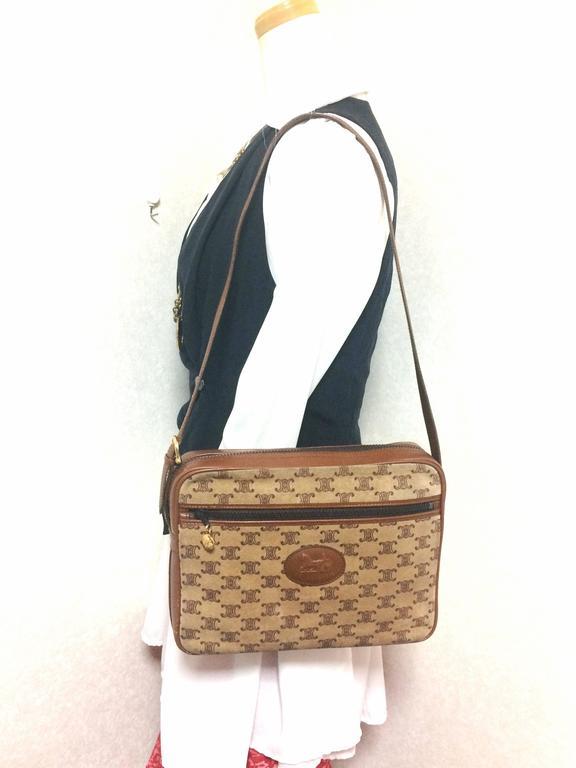 Vintage Celine tanned brown suede leather in macadam blason pattern shoulder bag 10