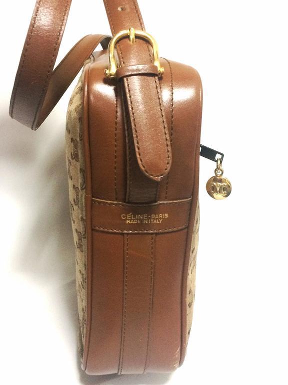 Vintage Celine tanned brown suede leather in macadam blason pattern shoulder bag 5