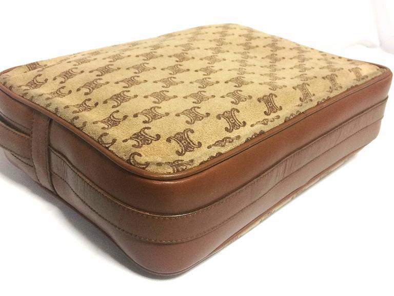 Vintage Celine tanned brown suede leather in macadam blason pattern shoulder bag 7