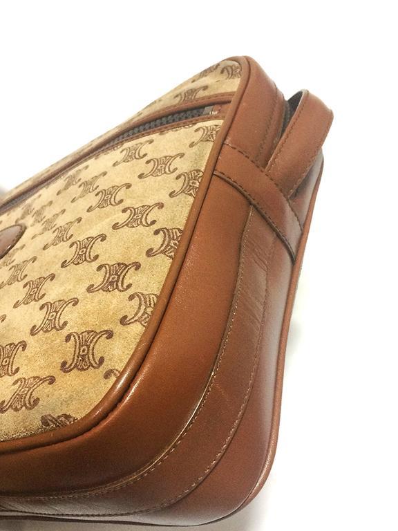 Vintage Celine tanned brown suede leather in macadam blason pattern shoulder bag 8