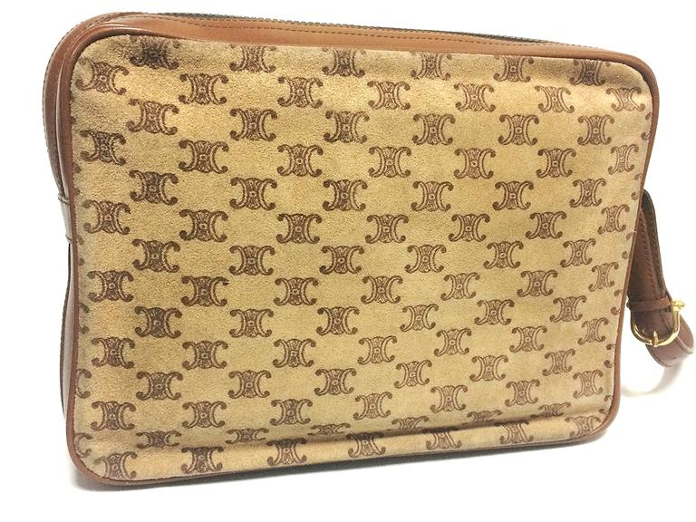 Vintage Celine tanned brown suede leather in macadam blason pattern shoulder bag 6