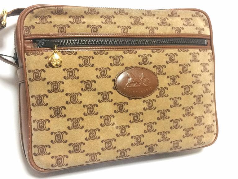 Vintage Celine tanned brown suede leather in macadam blason pattern shoulder bag 2