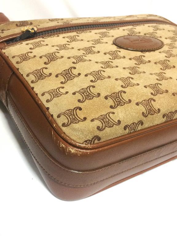 Vintage Celine tanned brown suede leather in macadam blason pattern shoulder bag 4