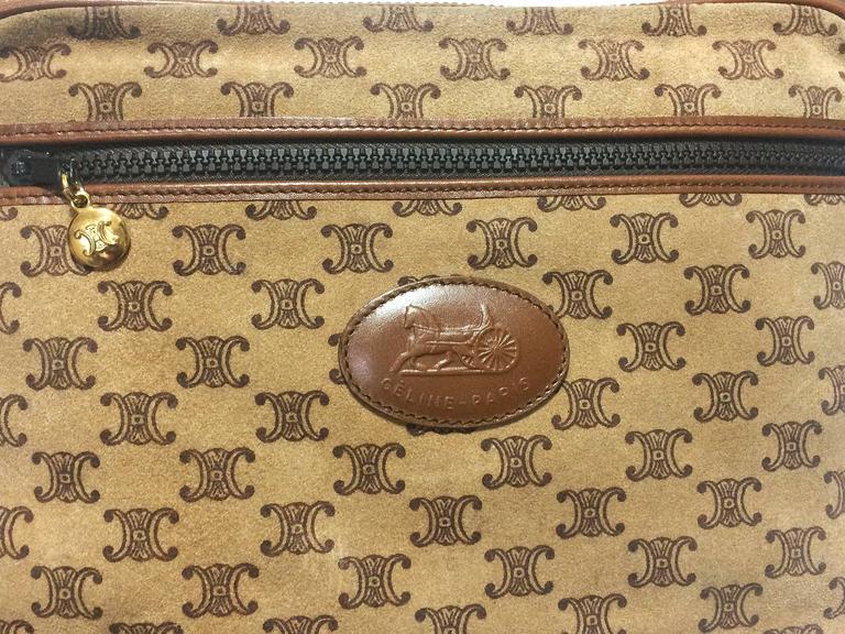 Vintage Celine tanned brown suede leather in macadam blason pattern shoulder bag 3