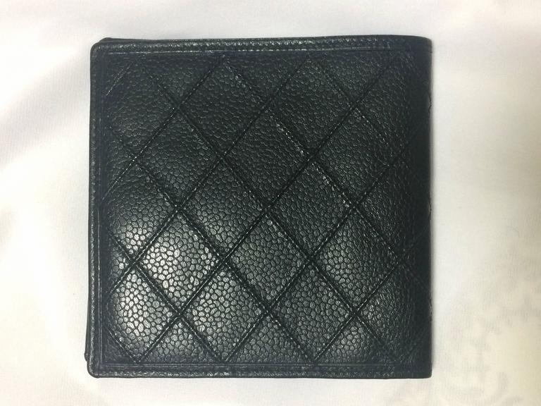 chanel zip card case. vintage chanel black caviar leather square wallet, bill, card case. unisex chanel zip case