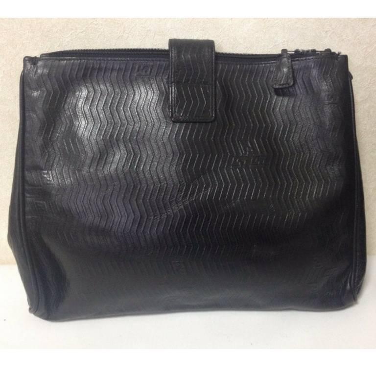 vintage fendi black large clutch purse  pouch  toiletries with chevron patterns  at 1stdibs