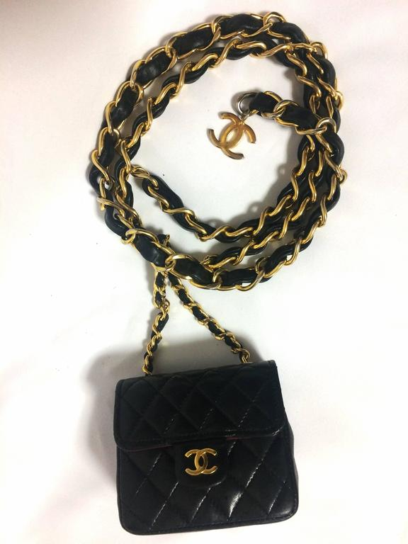 Vintage CHANEL black lambskin mini 2.55 bag charm chain leather belt with CC. 10