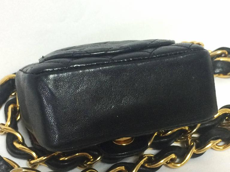 Vintage CHANEL black lambskin mini 2.55 bag charm chain leather belt with CC. 7