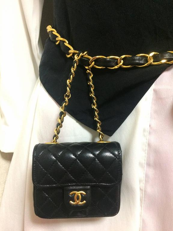 Vintage CHANEL black lambskin mini 2.55 bag charm chain leather belt with CC. 2