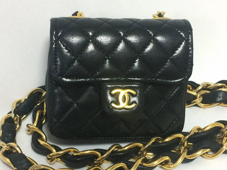 Vintage CHANEL black lambskin mini 2.55 bag charm chain leather belt with CC. 5