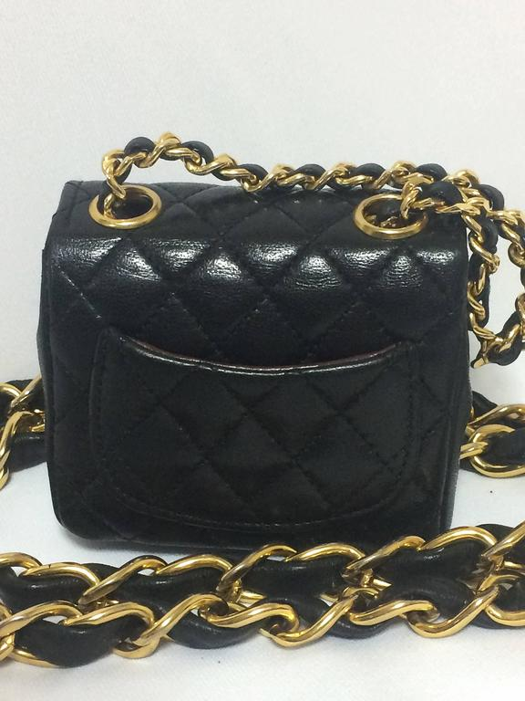Vintage CHANEL black lambskin mini 2.55 bag charm chain leather belt with CC. 6