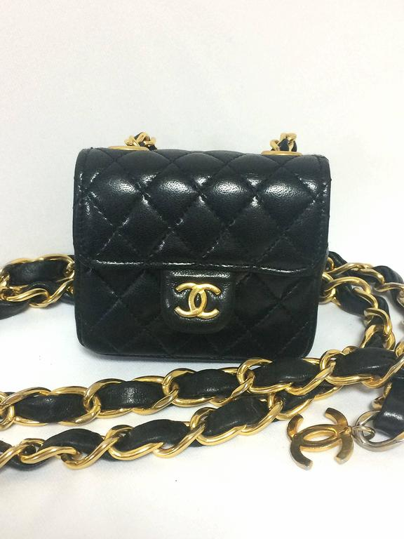 Vintage CHANEL black lambskin mini 2.55 bag charm chain leather belt with CC. 4