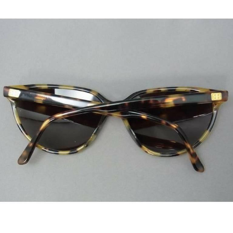80's vintage Balenciaga French made marble brown frame sunglasses. In Good Condition For Sale In Kashiwa, Chiba