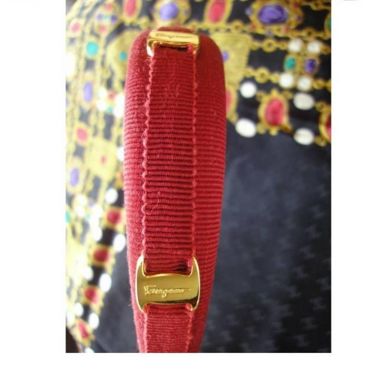 Vintage Salvatore Ferragamo vara golden logo embossed charm red head band. 5