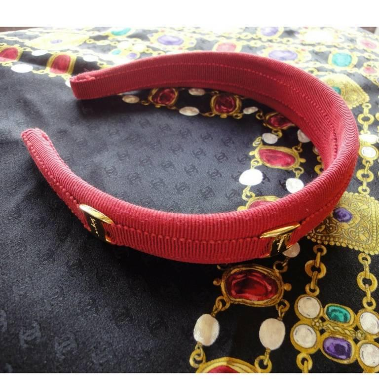Vintage Salvatore Ferragamo vara golden logo embossed charm red head band. 3