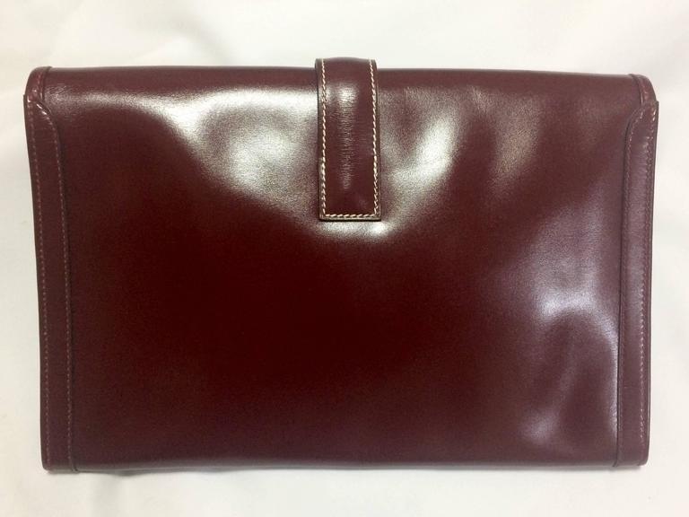 Black Vintage HERMES jige, document case, dark wine, bordeaux boxcalf portfolio bag. For Sale