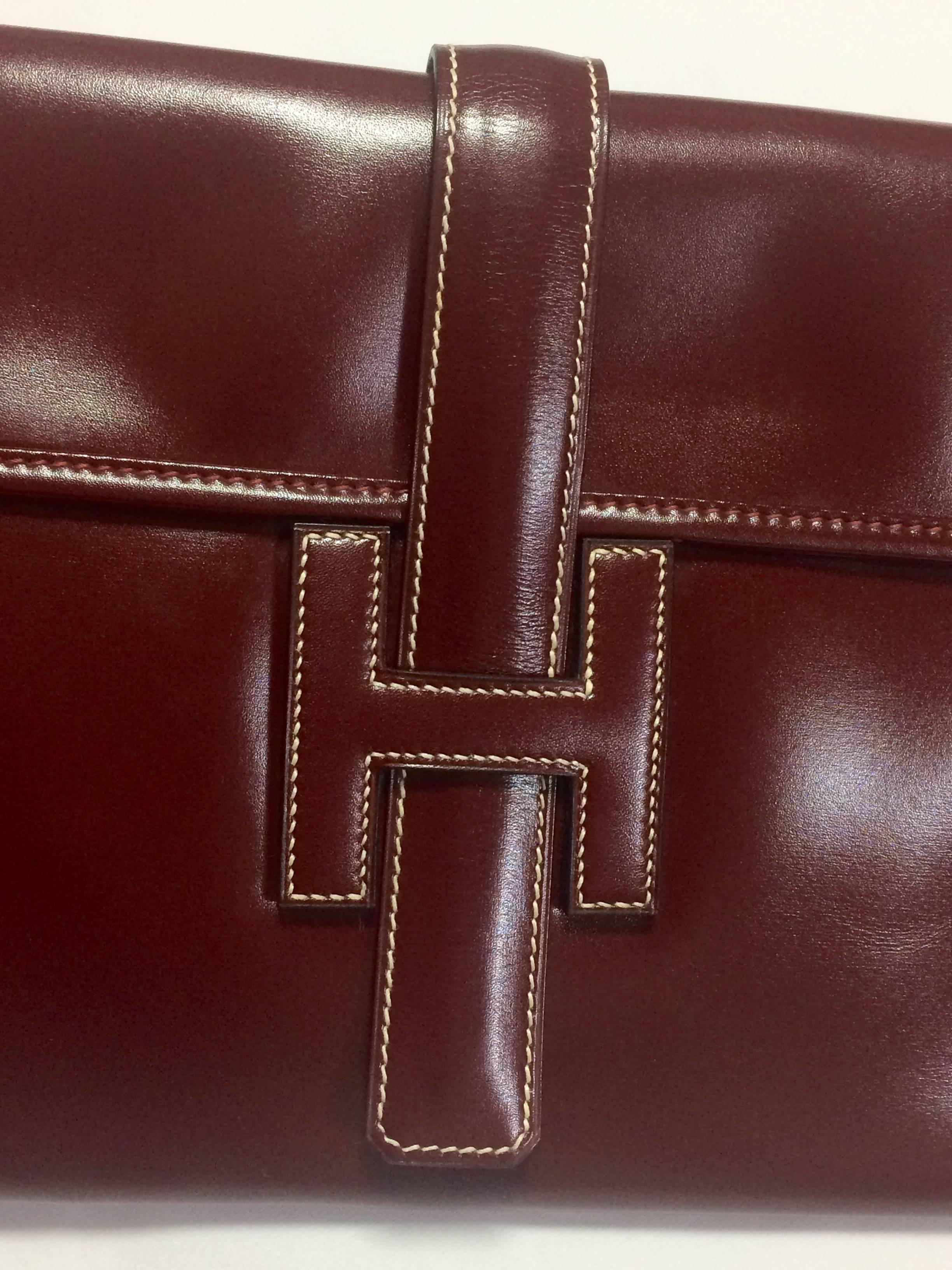 Vintage Hermès Hermes Jige Pm, Porte-documents, Porte-monnaie De Portefeuille Brun Foncé En Veau Boîte