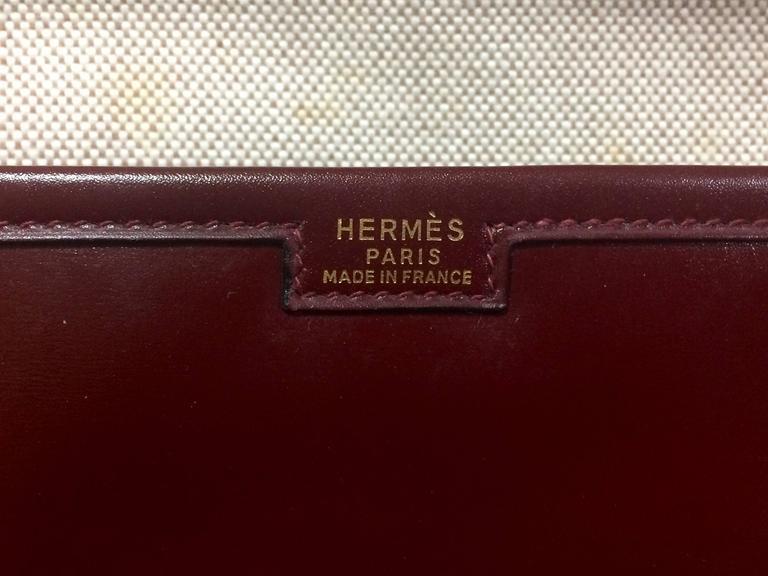 Vintage HERMES jige, document case, dark wine, bordeaux boxcalf portfolio bag. For Sale 2