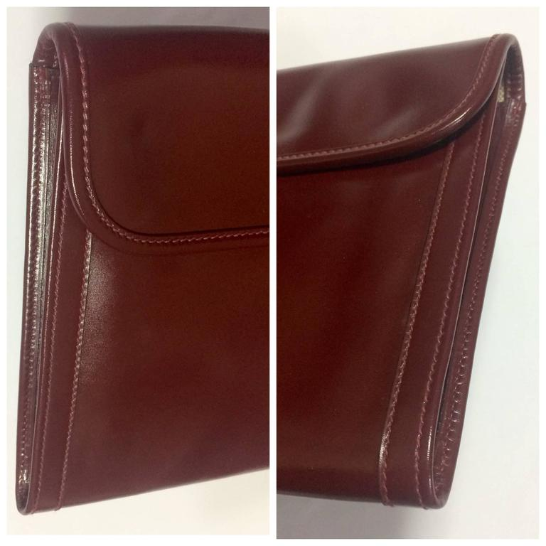 Vintage HERMES jige, document case, dark wine, bordeaux boxcalf portfolio bag. For Sale 1
